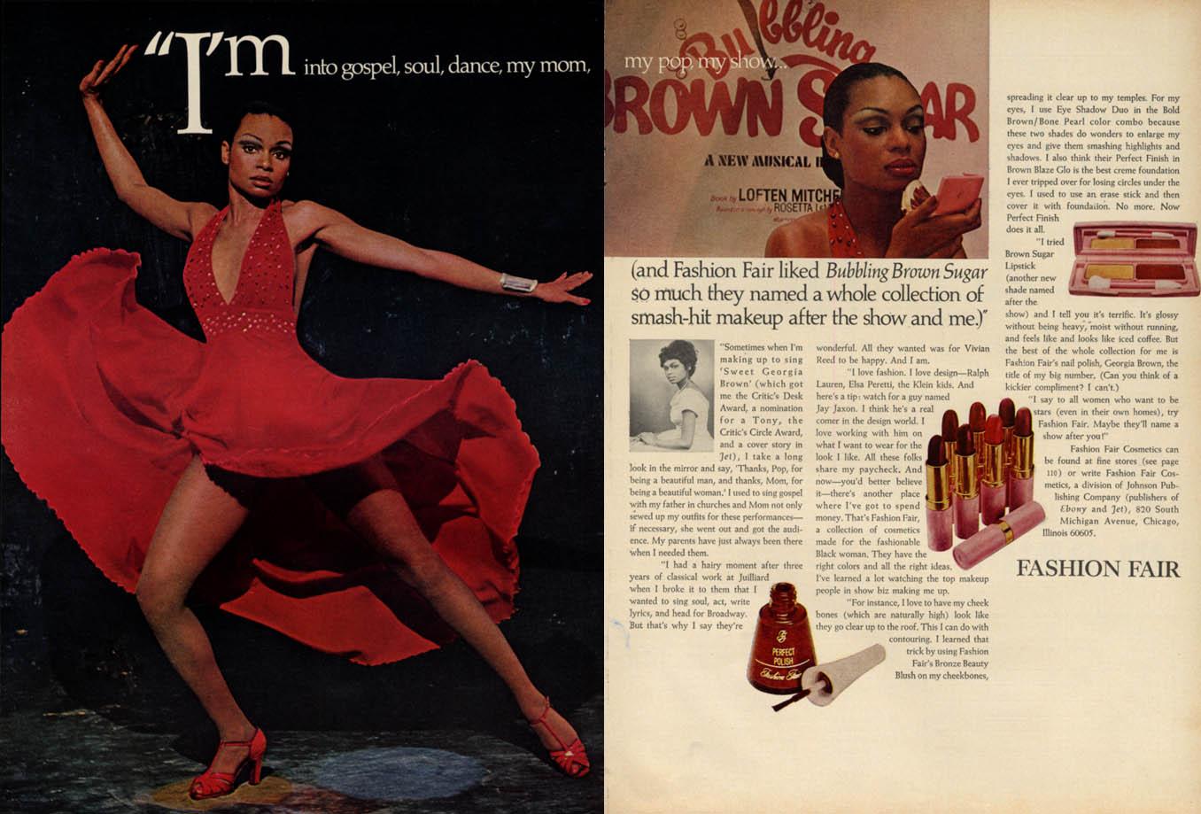 Image for Bubbling Brown Sugar star Vivian Reed for Fashion Fair Lipstick ad 1976 EB