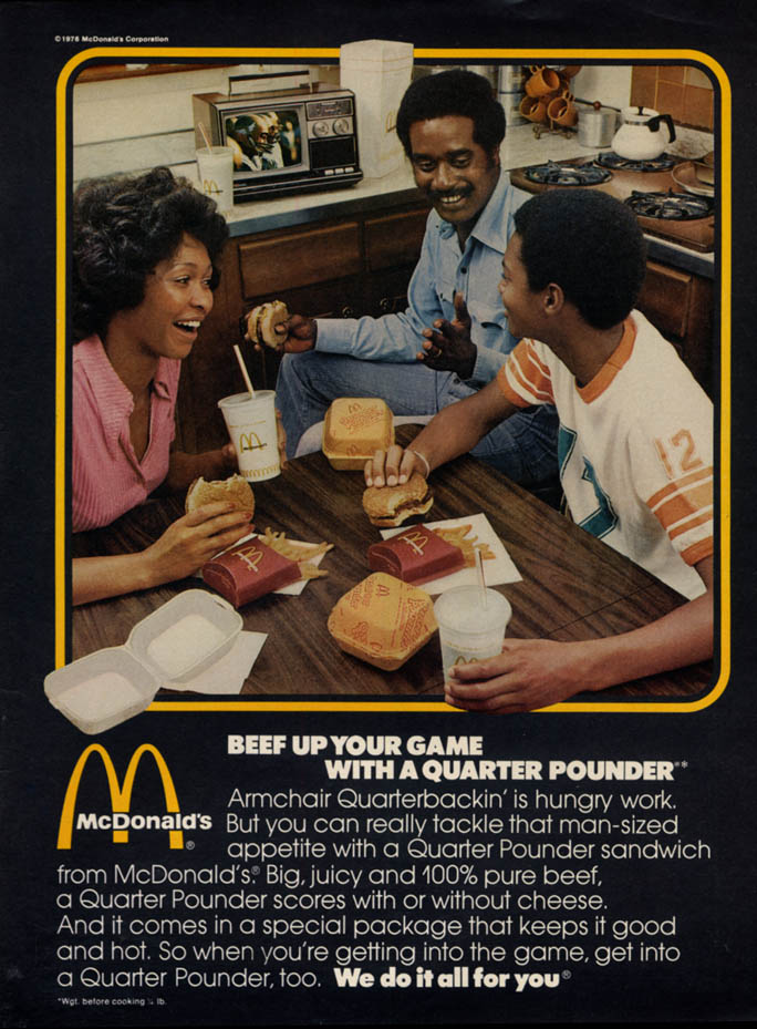 Image for Beef up your game with a McDonald's Quarter Pounder ad 1976 black family EB