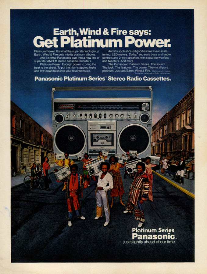 Image for Earth Wind & Fire says get Panasomic Platinum Series Cassettes ad 1980 EB