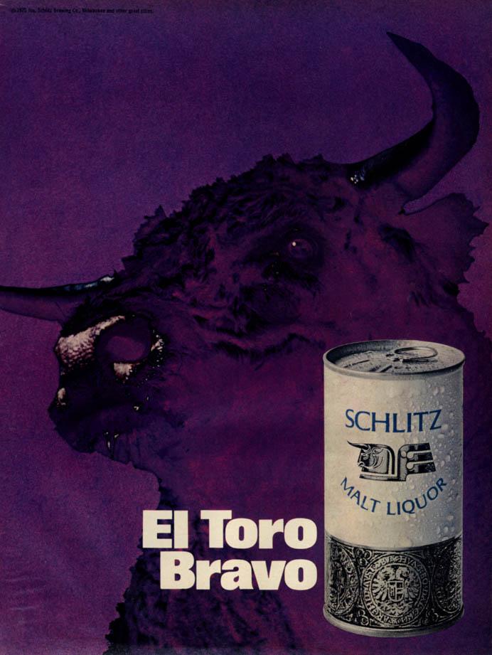 Image for El Toro Bravo - Schiltz Malt Liquor ad 1970 purple bull EB
