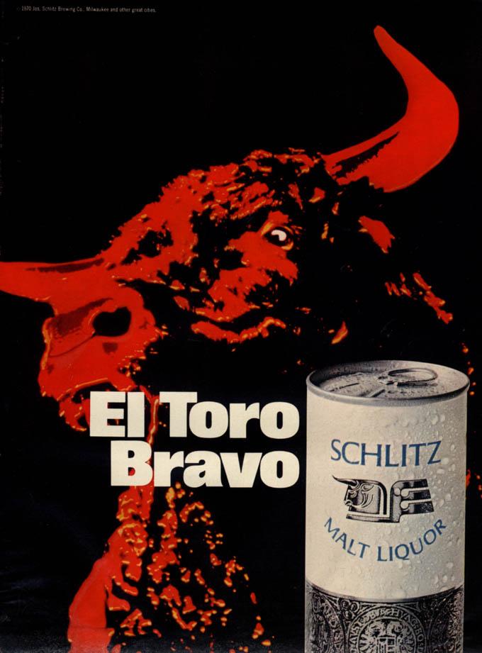 Image for El Toro Bravo - Schlitz Malt Liquor ad 1970 red bull EB
