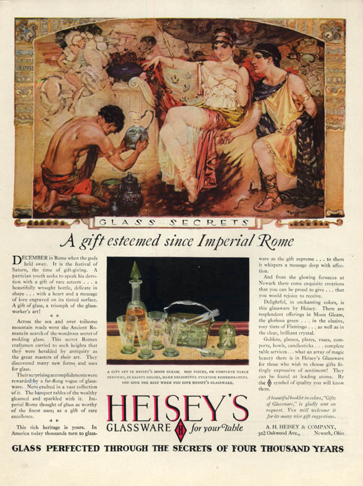 A gift esteemed since Imperial Rome Heisey's Glassware ad 1928 Tenggren art