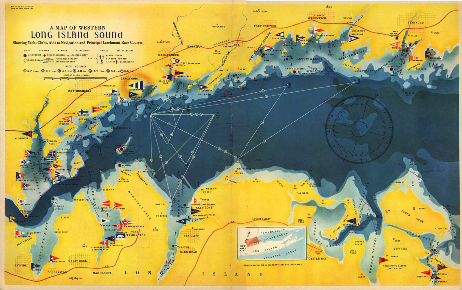 1939 Map of Western Long Island Sound w/ yacht clubs from Fortune magazine
