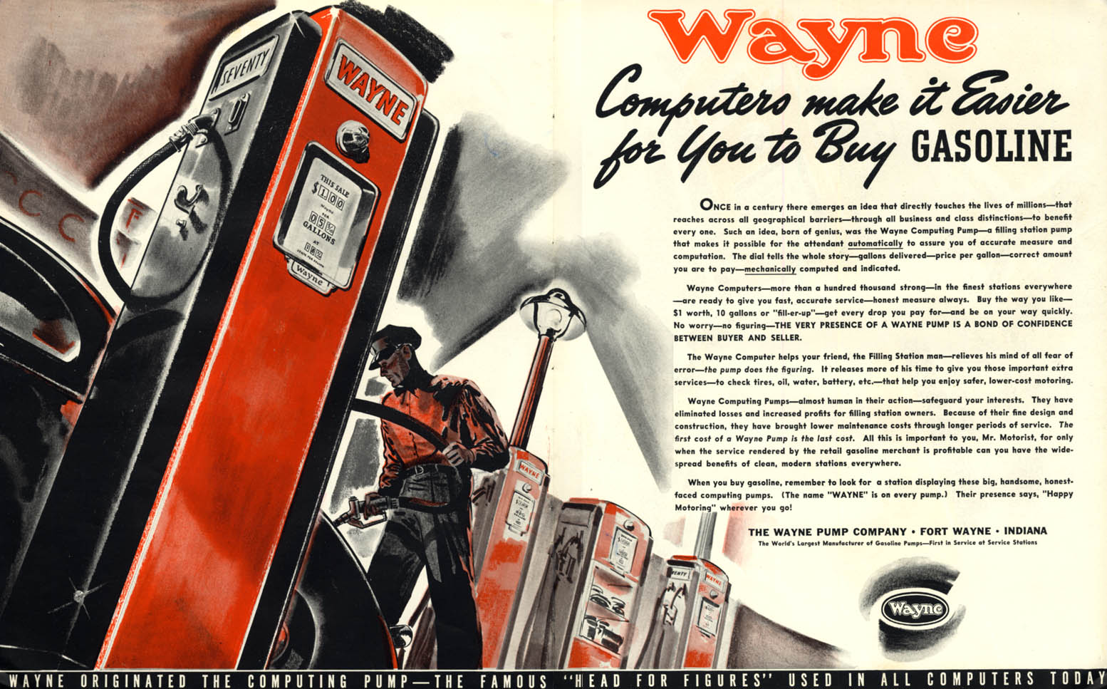 Image for Wayne Computing Gasoline Pumps make it easier for You to Buy Gas ad 1939 F
