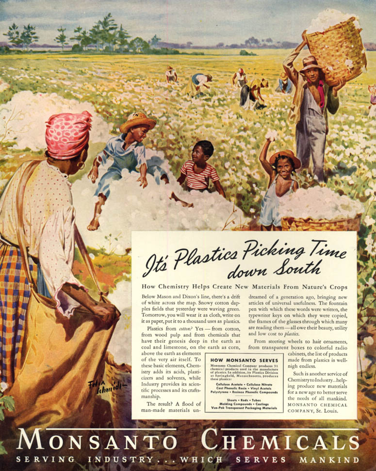 Image for Plastic Picking Time down South blacks in cotton field Monsanto ad 1939 F