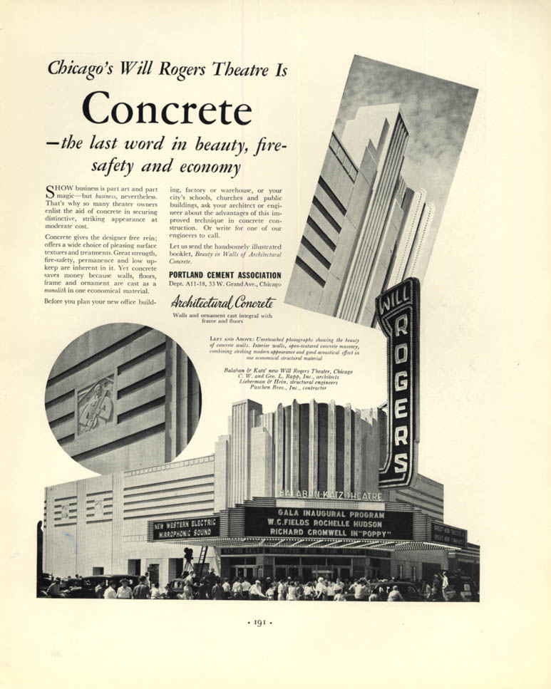 Image for Chicago's Will Rogers Theatre - Portland Cement Association ad 1936 F
