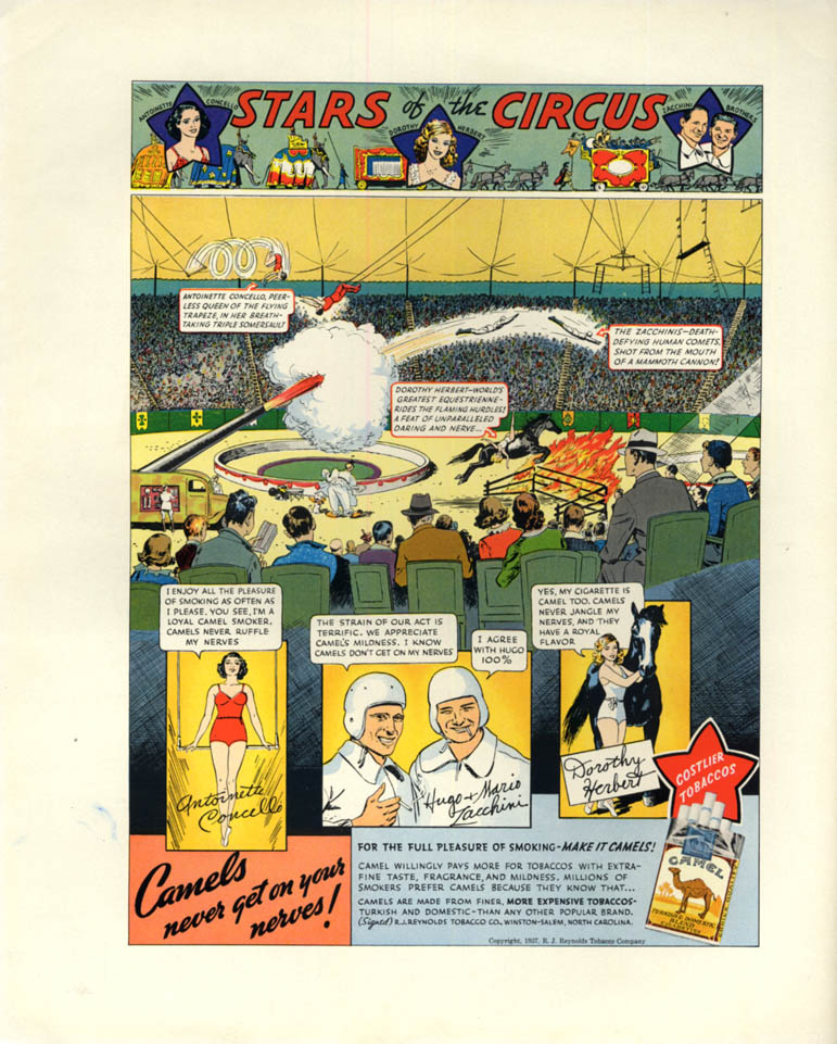Image for Stars of the Circus Zacchinis Concello Dorothy Herbert Camel Cigarettes ad 1937