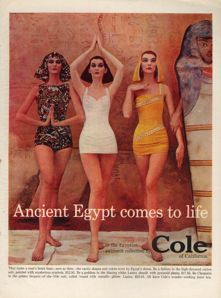 Ancient Egypt comes to life in Cole of California Swimsuits ad 1956 L