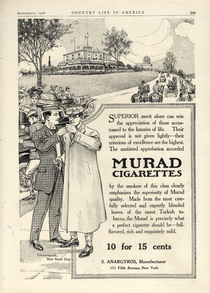 Image for Superior merit Murad Cigarettes at The Claremont New York City ad 1906