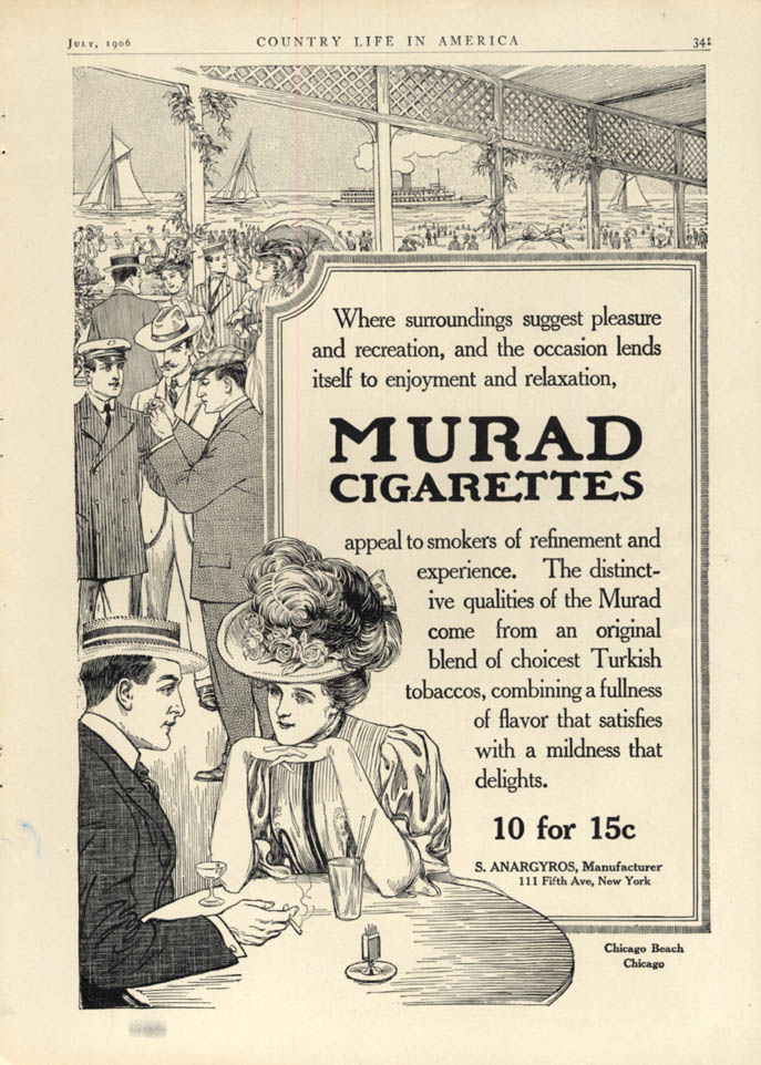 Image for Surroundings suggest pleasure Murad Cigarettes at Chicago Beach ad 1906