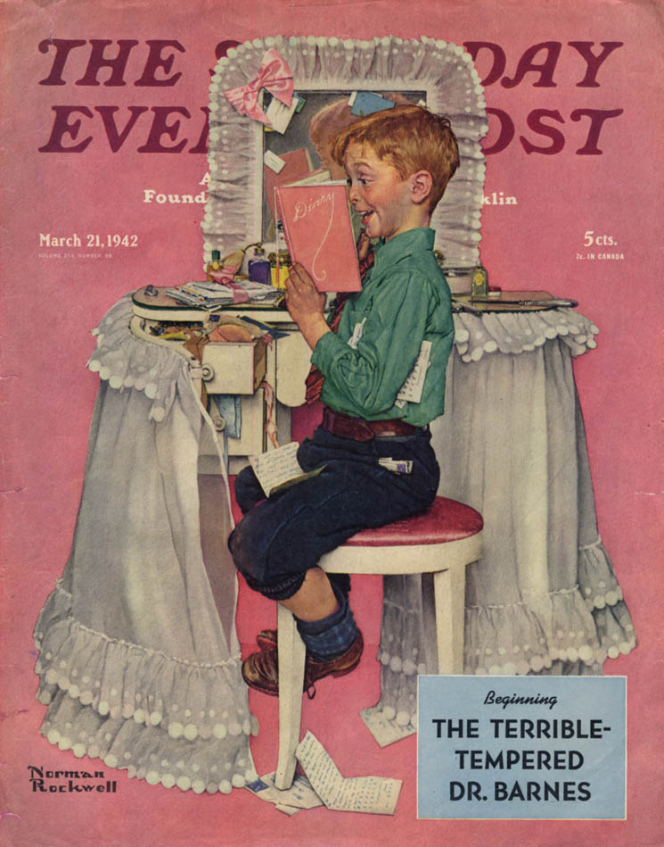 Image for SATURDAY EVENING POST COVER 1942 boy reads sister's diary by Norman Rockwell
