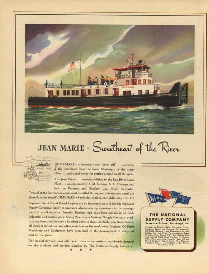 Lea River Lines Mississippi river tug Jean Marie - National Supply ad 1944 F