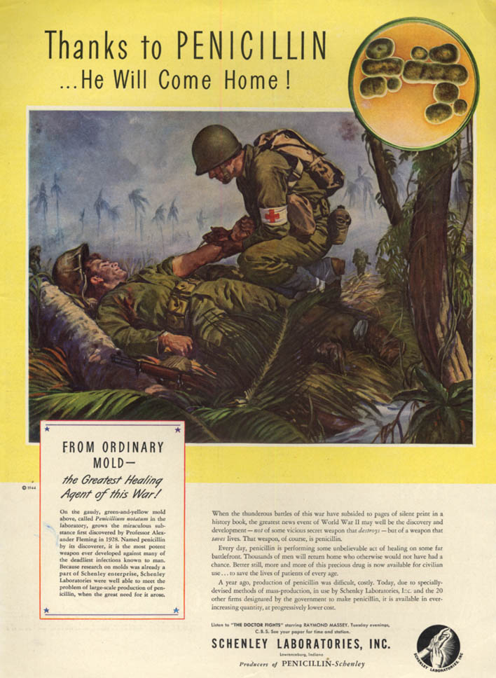 Image for Thanks to Penicillin - He Will Come Home - Schenley Laboratories ad 1944