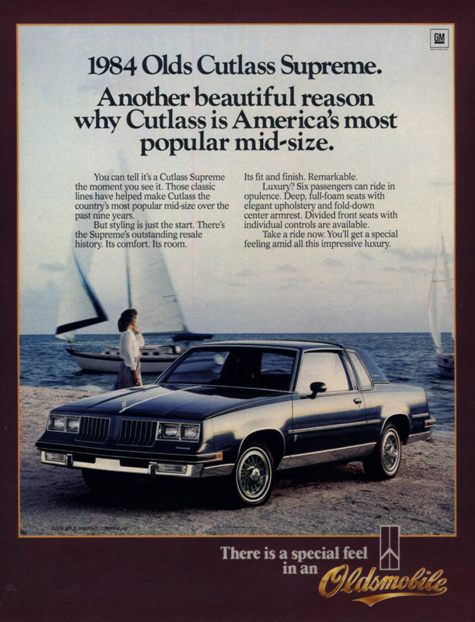 Image for America's most popular mid-size - Oldsmobile Cutlass Supreme ad 1984 L