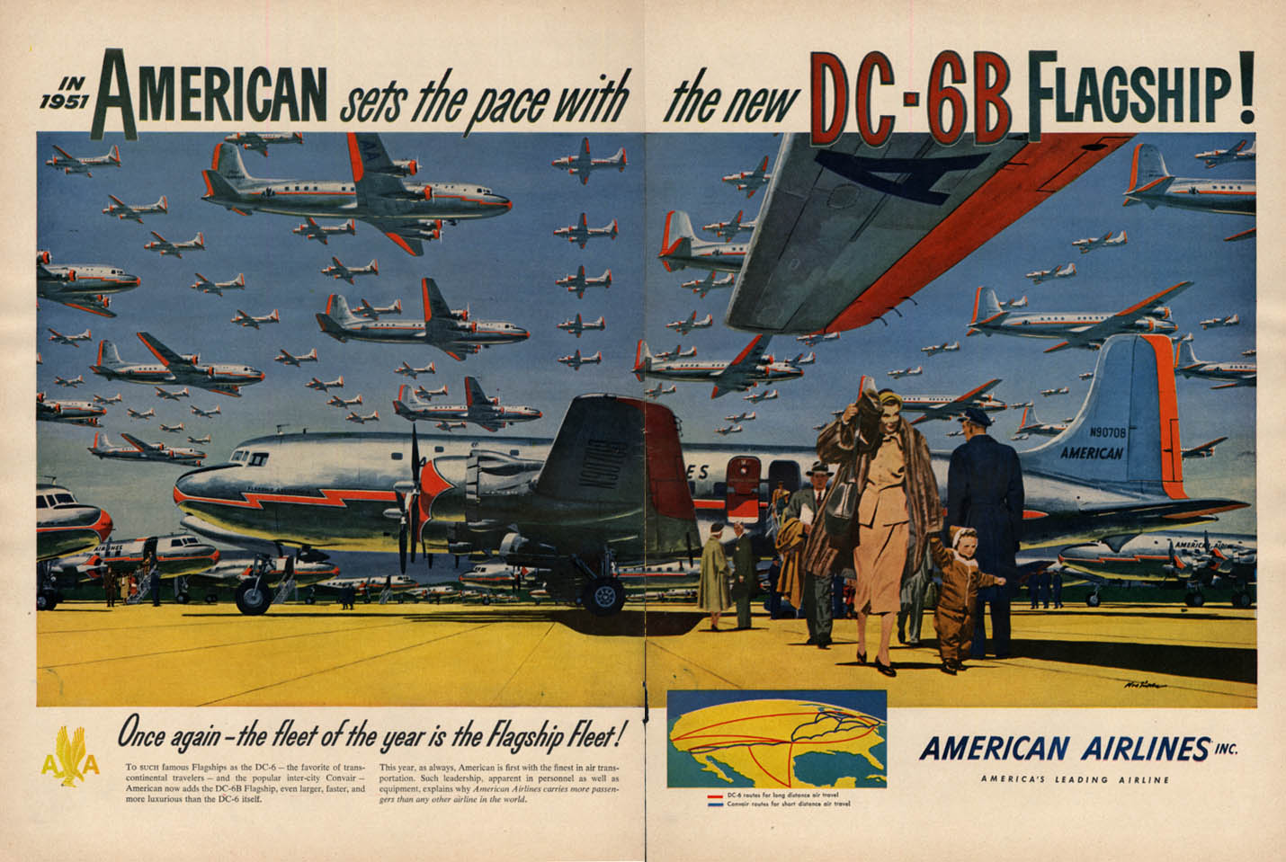 Image for American Airlines sets the pace with the new DC-6B Flagship ad 1951 L
