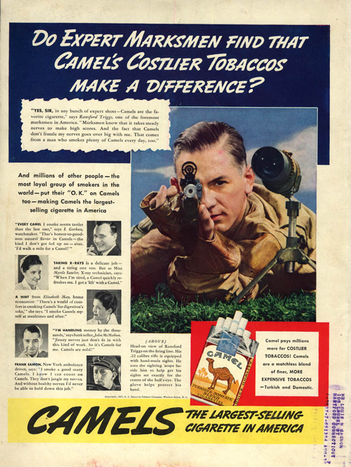 Image for Expert marksman Ransford Triggs for Camel Cigarettes ad 1938 L