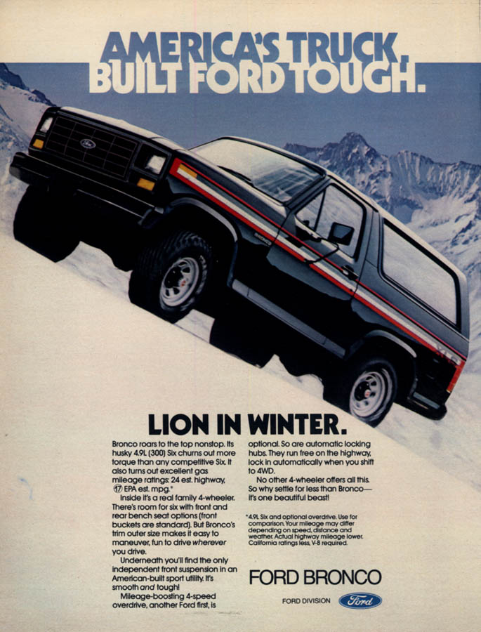 Image for Lion in Winter - Ford Bronco ad 1982 L