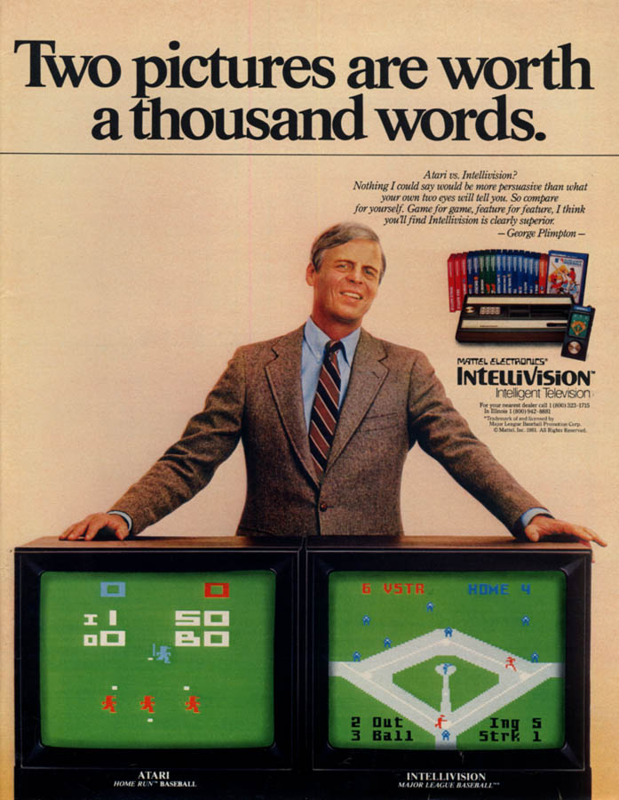 Image for George Plimpton for Mattel Intellivision va Atari ad 1982 L