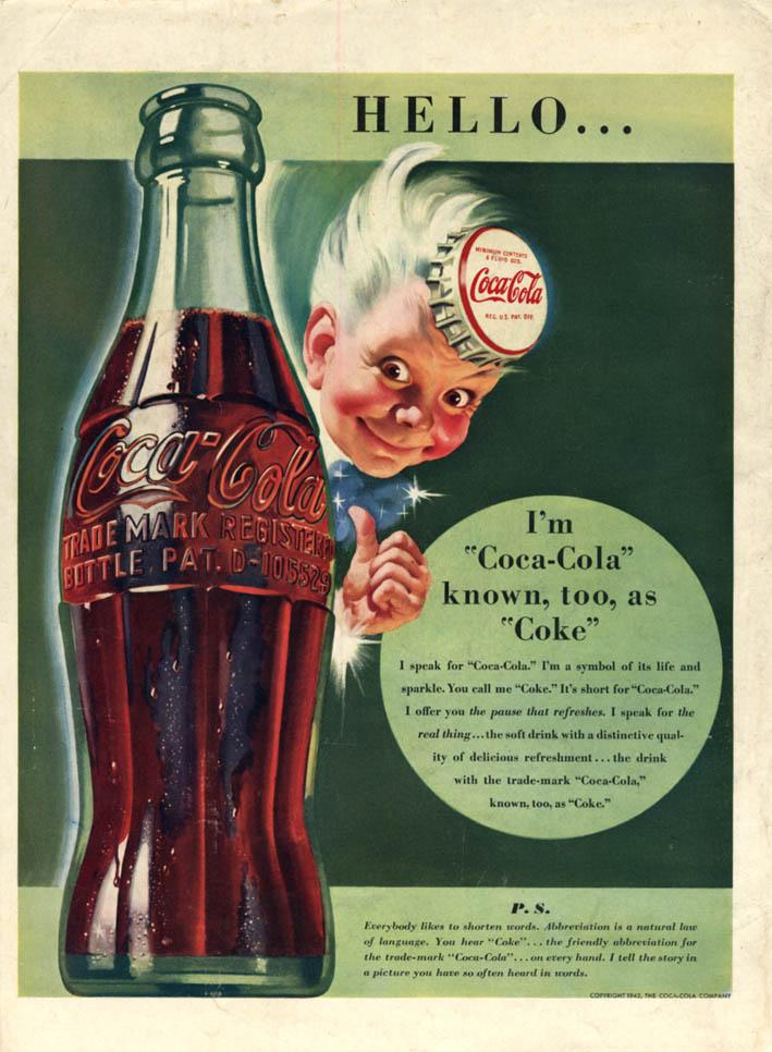 Image for Hello - I'm Coca-Cola known too as Coke - Coke Boy ad 1942 L
