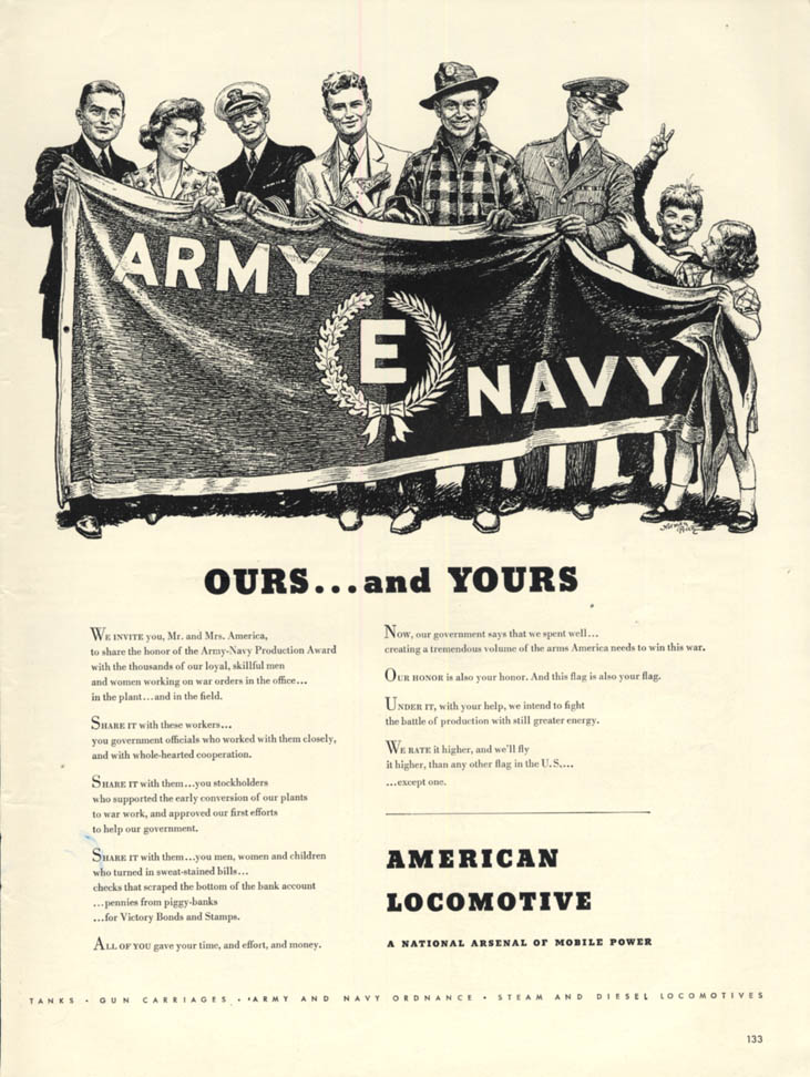 Image for Ours & Yours - Army-Navy E-Award for American Locomotive ad 1942 L