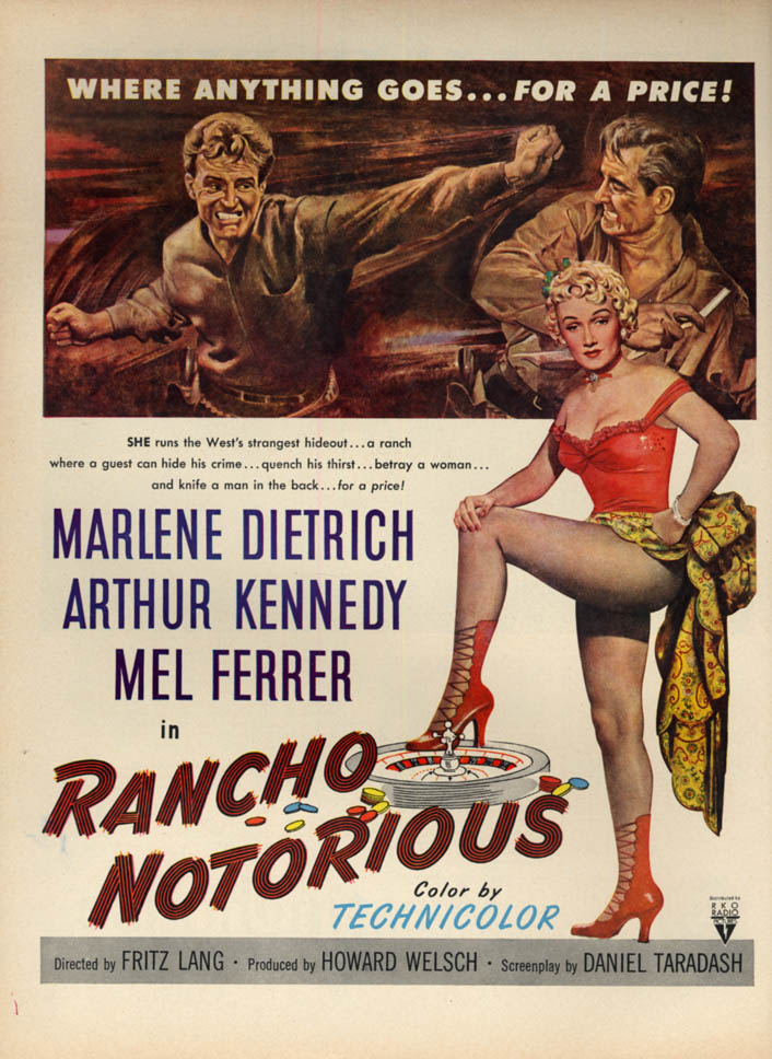 Image for Fritz Lang's Rancho Notorious MAGAZINE AD 1952 Marlene Dietrich