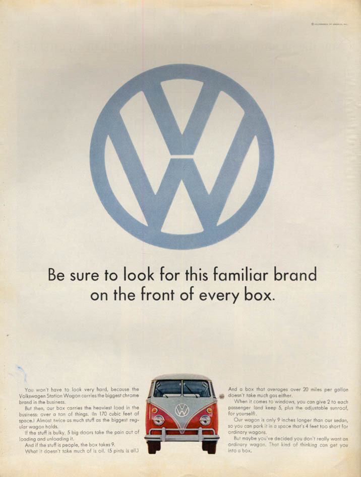 Image for Look for this familiar brand on every box Volkswagen Station Wagon ad 1965 L