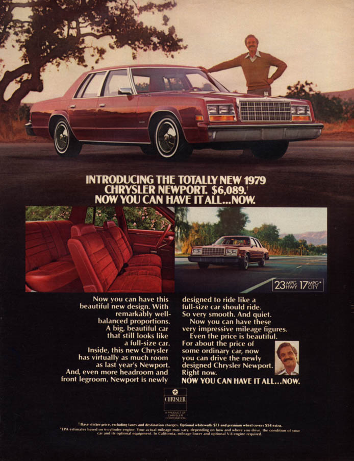 Image for Hal Linden for the totally new Chrysler Newport ad 1979 L