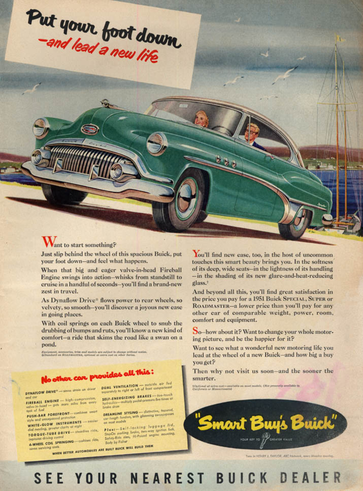 Image for Put your foot down & lead a new life Buick Special ad 1951 L