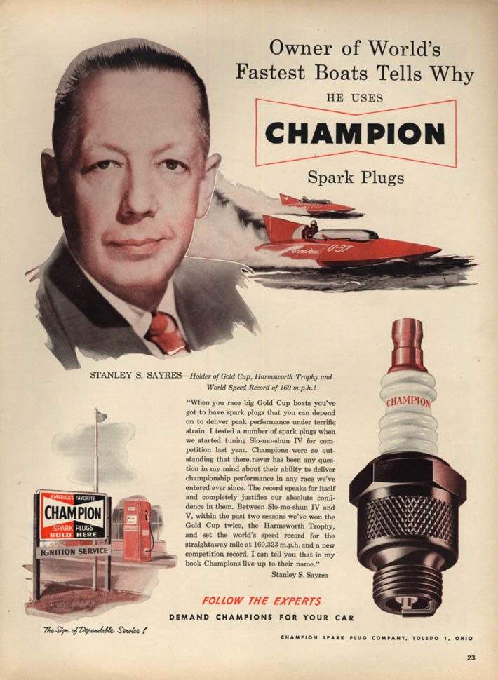 Image for Stanley S Sayres' Gold Cup boat Slo-mo-shun for Champion Spark Plugs ad 1951 L