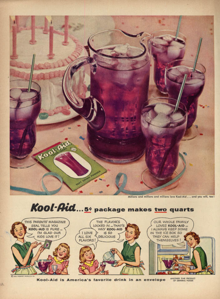 Image for Parents' Magazine tells you Kool-Aid is pure 5c package makes 2 quarts ad 1954 L