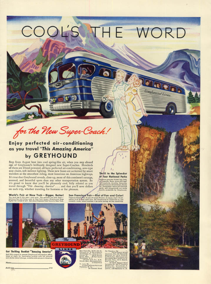 Cool's the Word for the Greyhound Super-Coach ad 1940 L