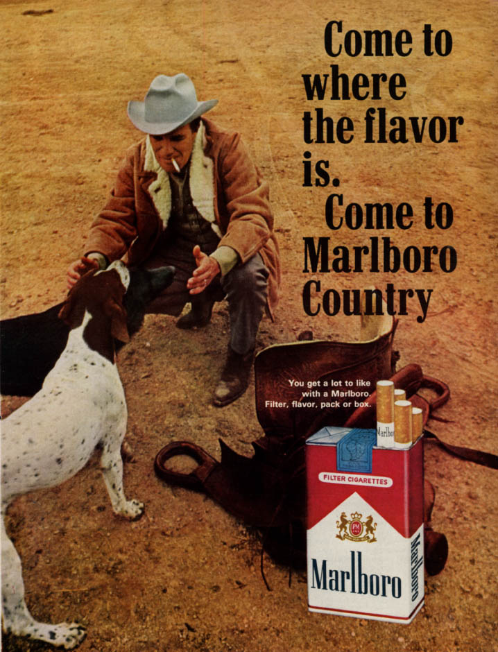 Image for Come to where the flavor is Come to Marlboro Country ad 1965 hunting dogs L