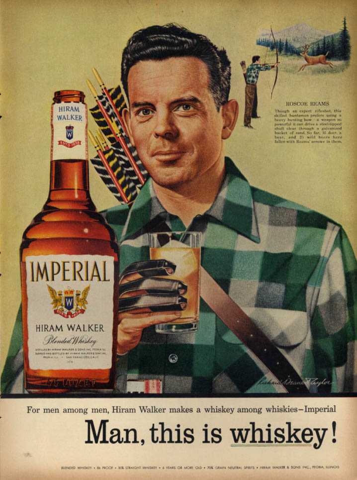 Image for Archer Roscoe Reams for Hiram Walker Imperial Blended Whiskey ad 1955 L