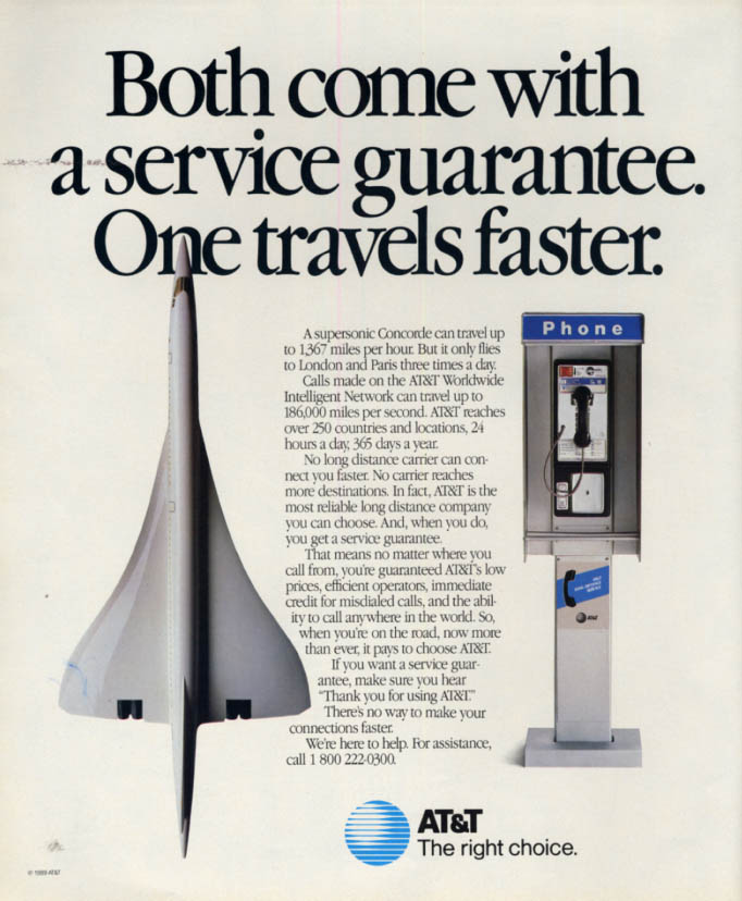 Image for Air France Concorde for AT&T Worldwide Telephone Booth ad 1989 L