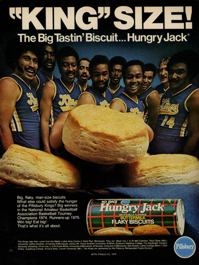 Image for Pillsbury Kings Basketball Team for Big Tastin' Hungry Jack Biscuits ad 1975 EB