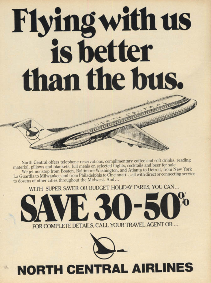 Image for Flying with us is better than the bus North Central Airlines DC-9 ad 1978 EB