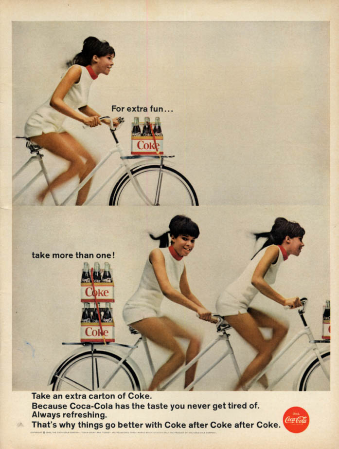 Image for For extra fun take more than 1 Coca-Cola sixpack ad 1966 black gals tnadem bike