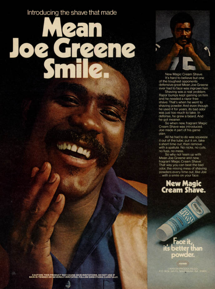 Image for The shave that made Mean Joe Greene smile Magic Cream Shave ad 1976 EB