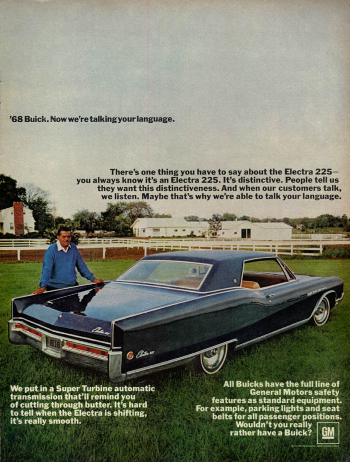 Image for Now we're talking your language Buick Electra 225 Coupe ad 1968 EB black man