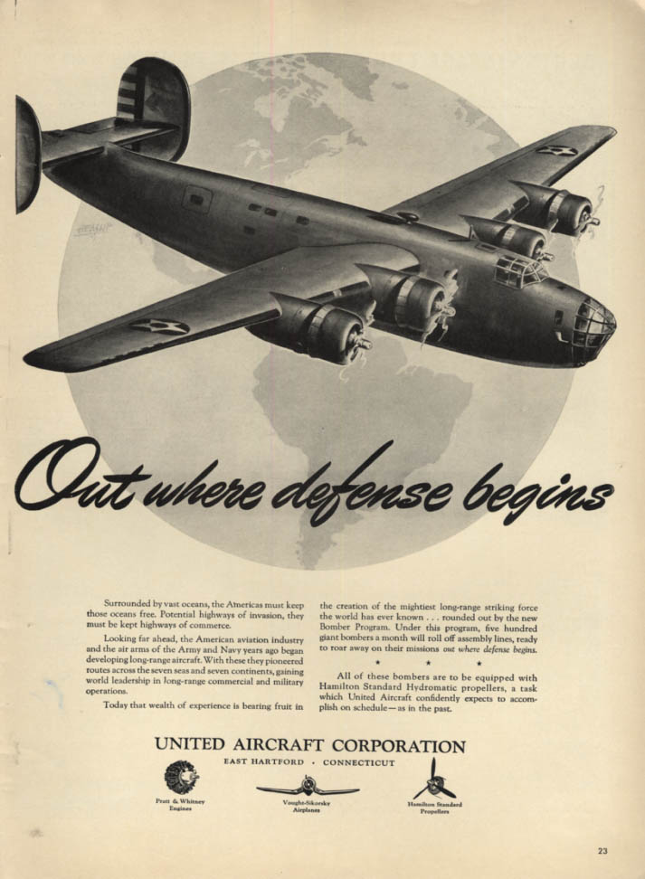 Image for Out where defense begins Consolidated B-24 Liberator - United Aircraft ad 1941 L