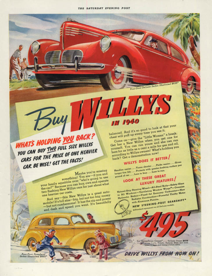 Image for What's holding you back? Buy Willys for 1940 ad SEP