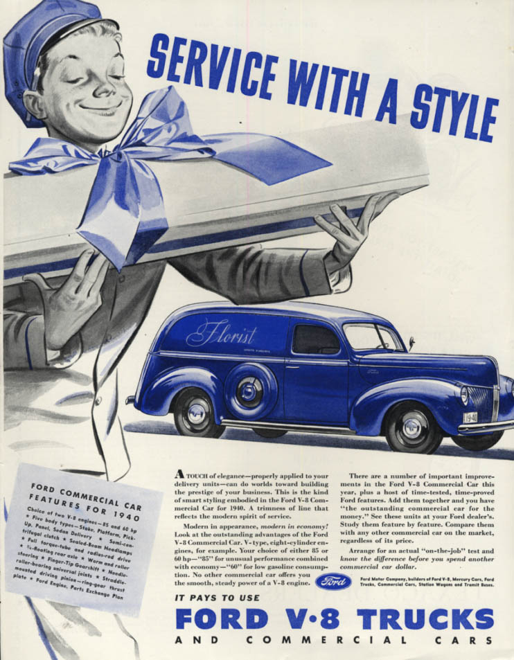 Image for Service with a Style - Ford Sedan Delivery Commercial Car ad 1940 SEP