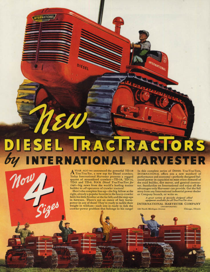 Image for New TD-18 Diesel TracTractor Tractors by International Harvester ad 1940 SEP