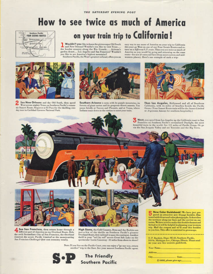Image for See twice as much of American - Southern Pacific Daylight Streamliner ad 1941 P