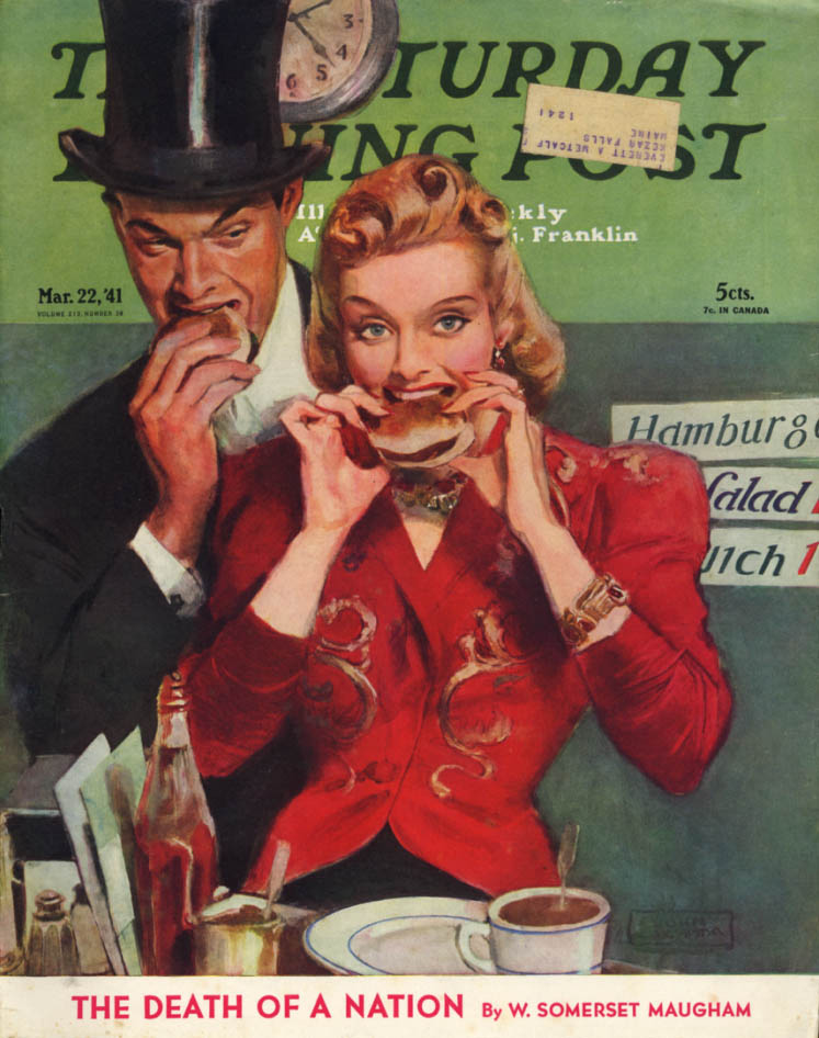 Image for SATURDAY EVENING POST COVER 1941 top hat & blonde at burger joint by Lagata