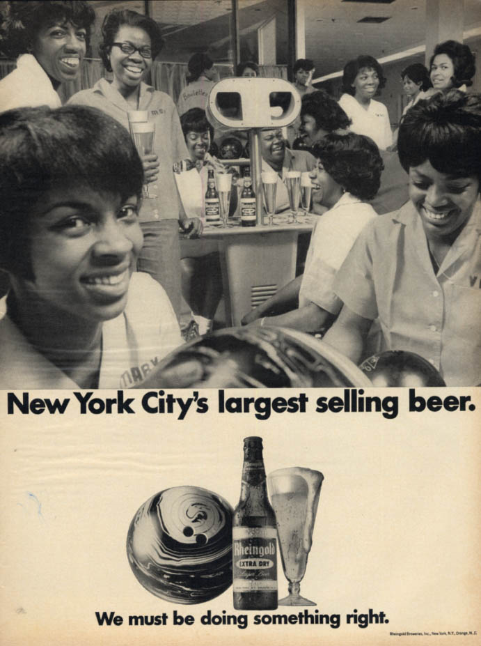 Image for New York's largest selling beer Rheingold ad 6 black women bowling team
