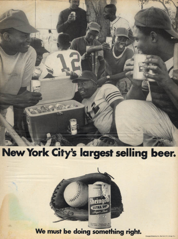 Image for New York's largest selling beer - Rheingold ad 1966 black men's softball team EB