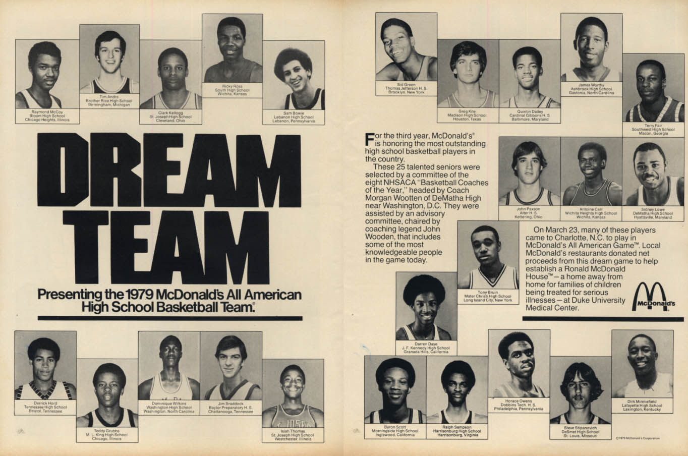 1979 McDonald's All American High School Basketball Team ad Dominique Isiah ++