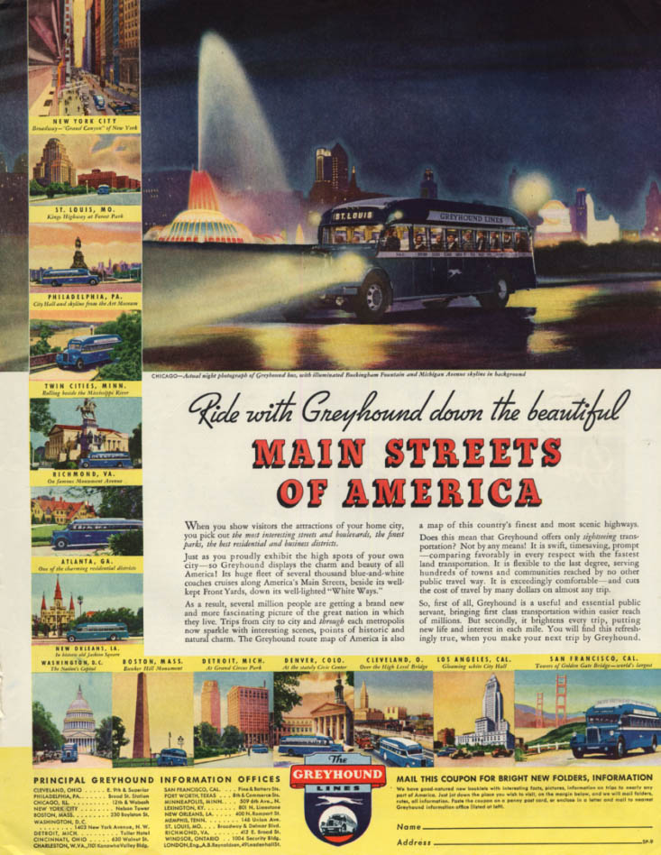 Image for Ride with Greyhound Bus down the Main Streets of America ad 1935 SEP