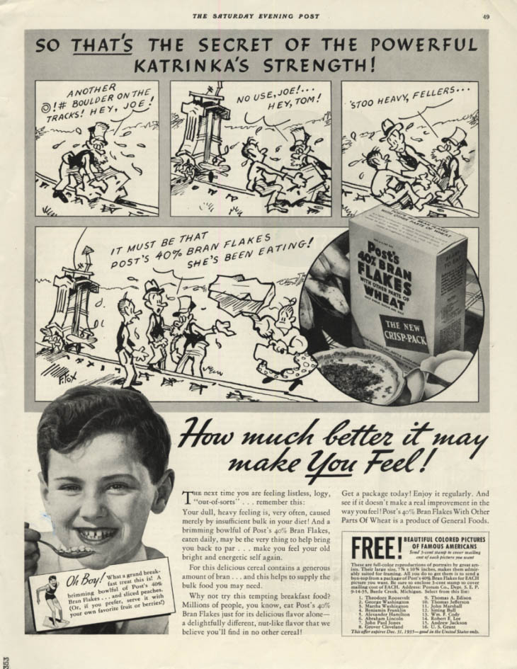 Image for Fontaine Fox's the Secret of Katrinka's Strength Post 40% Bran Flakes ad 1935 P